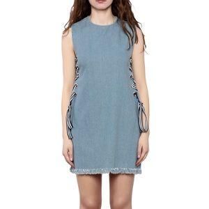 Sleeveless Frayed Denim Laced Dress Size Medium